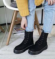 Женские ботинки демисезонные, эко замша, черные, 2018
