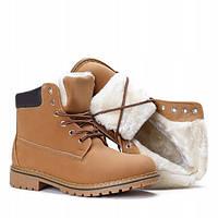 Женские стильные ботинки на зиму коричневого цвета, фото 1