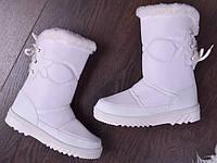 Женские сапоги-дутики белого цвета польские, фото 1