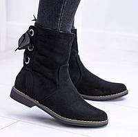 Чёрные модные ботинки сзади на шнуровке, фото 1