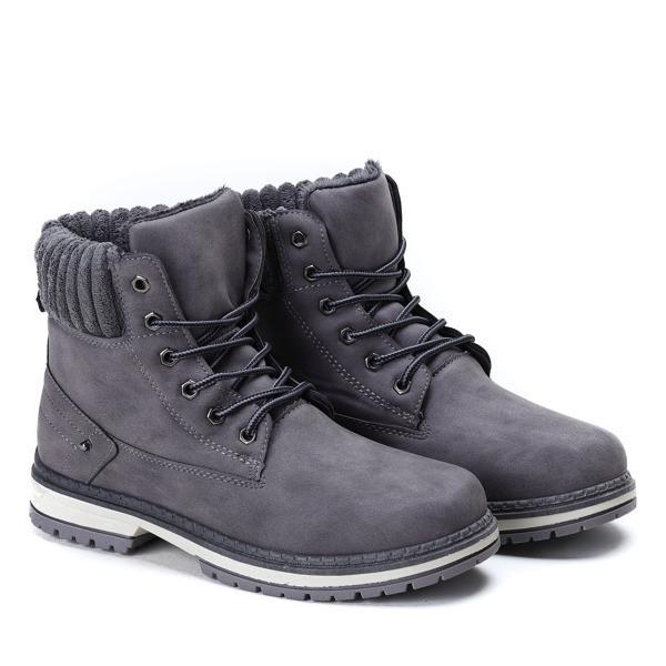 Польские ботинки серого цвета еврозима