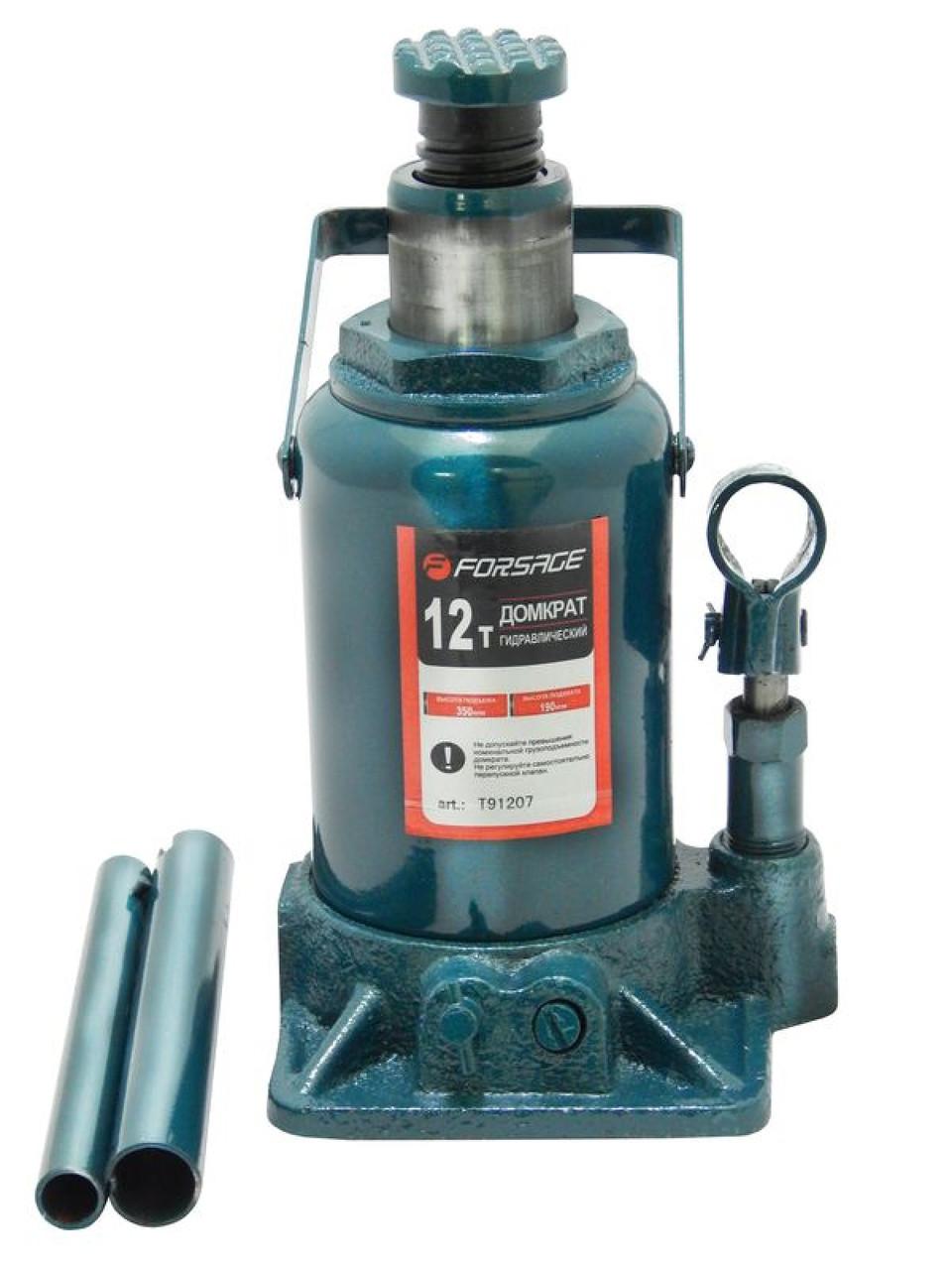 Домкрат бутылочный 12т низкий с клапаном, h.min=185 мм, h.max=335 мм, F-T91207 FORSAGE