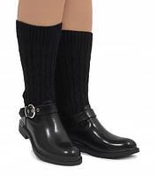 Польские комбинированные ботинки чёрного цвета, фото 1