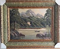 """Картина гобеленовая """"Горное озеро"""" в двойной раме"""
