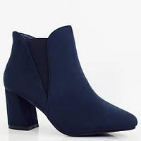 Синие ботинки на устойчивом каблуке, фото 1