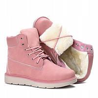 Женские ботинки нежно розового цвета на зимнее время, фото 1