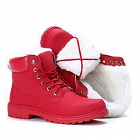 Красные модные ботинки на зиму по привлекательной цене, фото 1