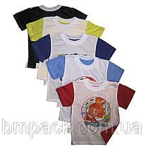 Футболка детсткая размер 98-140 двухцветная с принтом, фото 2