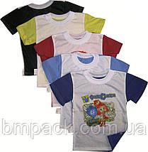 Футболка детсткая размер 98-140 двухцветная с принтом, фото 3