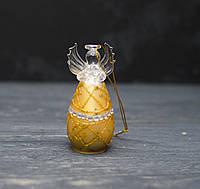 Стеклянное украшение ангелочек с золотой юбкой 9 см, фото 1