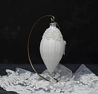 Новорічна прикраса - іграшка з камінням скло біла, фото 1