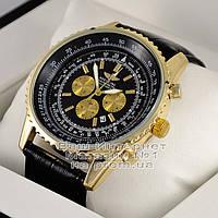Мужские наручные часы Breitling Quartz Gold Black Брайтлин качественная премиум реплика