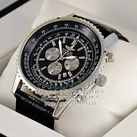 Мужские наручные часы Breitling Quartz Silver Black Брайтлин качественные люкс реплика