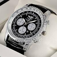 Мужские наручные часы Breitling Quartz Silver Black Брайтлин качественная премиум реплика, фото 1