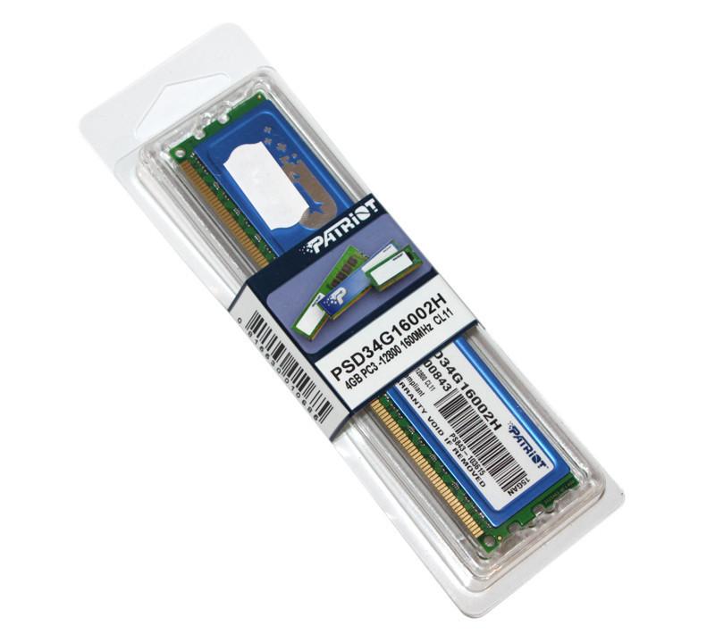 Оперативная память для компьютера 4Gb DDR3, 1600 MHz (PC3-12800), Patriot, 11-11-11-28, 1.5V, с радиатором (PSD34G16002H)