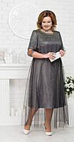 Платье Ninele-5680 белорусский трикотаж, серебро, 58