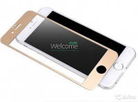 Защитное стекло iPhone 6,6S (0.3 мм, 3D, золотое, полное,с олеофобным покрытием, и покрытием Silk Screen)