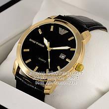 Мужские наручные часы Emporio Armani Quartz Gold Black Эмпорио Армани качественные люкс реплика