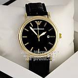 Чоловічі наручні годинники Emporio Armani Quartz Gold Black Емпорио Армані якісна преміум репліка, фото 2
