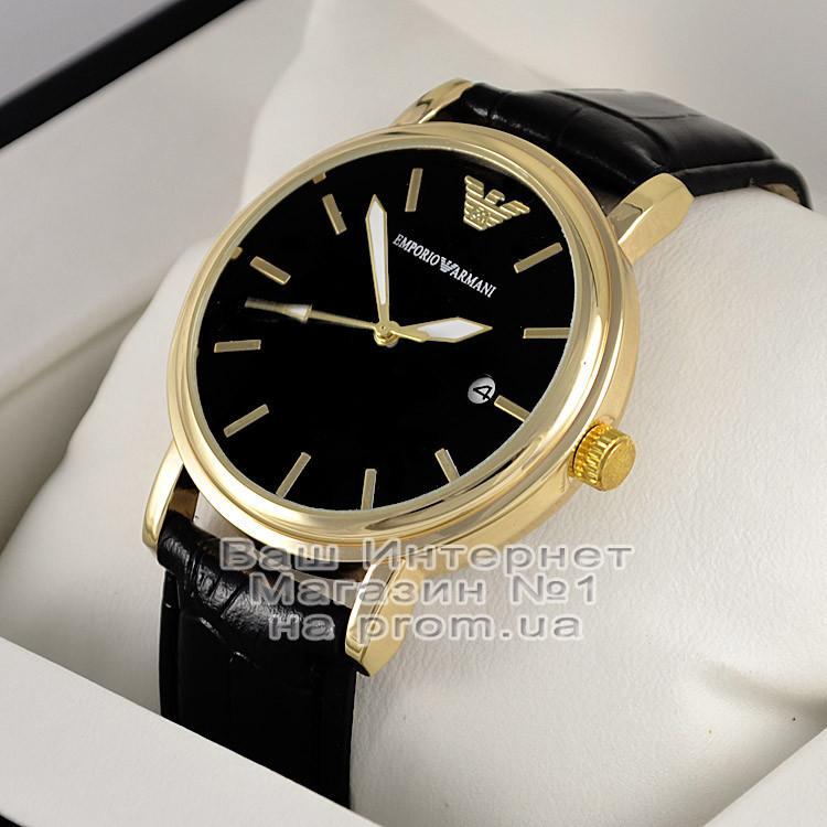 Чоловічі наручні годинники Emporio Armani Quartz Gold Black Емпорио Армані якісна преміум репліка