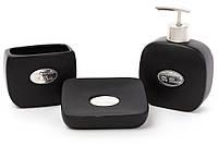 Набор для ванной (3 предмета): дозатор 375мл, стакан 325мл для зубных щеток, мыльница, цвет - черный