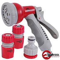 Пистолет-распылитель для полива 8-ми функциональный (центральный, туман, душ, угловой, полный, проливной дождь, конический, плоский.) + Адаптер