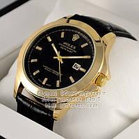 Мужские наручные часы Rolex Oyster Perpetual Datejust Quartz Gold Black Ролекс кварцевые качественная реплика, фото 1