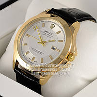 Мужские наручные часы Rolex Oyster Perpetual Datejust Quartz Gold White Ролекс кварц премиум реплика, фото 1