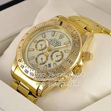 Мужские наручные часы Rolex Cosmograph Daytona Quartz Gold White Ролекс кварц качественная люкс реплика