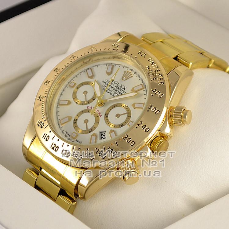Мужские наручные часы Rolex Cosmograph Daytona Quartz Gold White Ролекс  кварц качественная люкс реплика - Ваш a07cd77b84b99