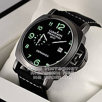 Мужские часы Officine Panerai Luminor Marina GMT Automatic Ceramic Quartz Black Black Оффичине Панерай реплика