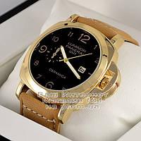 Мужские наручные часы Officine Panerai Luminor Marina GMT Automatic Ceramic Quartz Gold Black Панерай реплика, фото 1