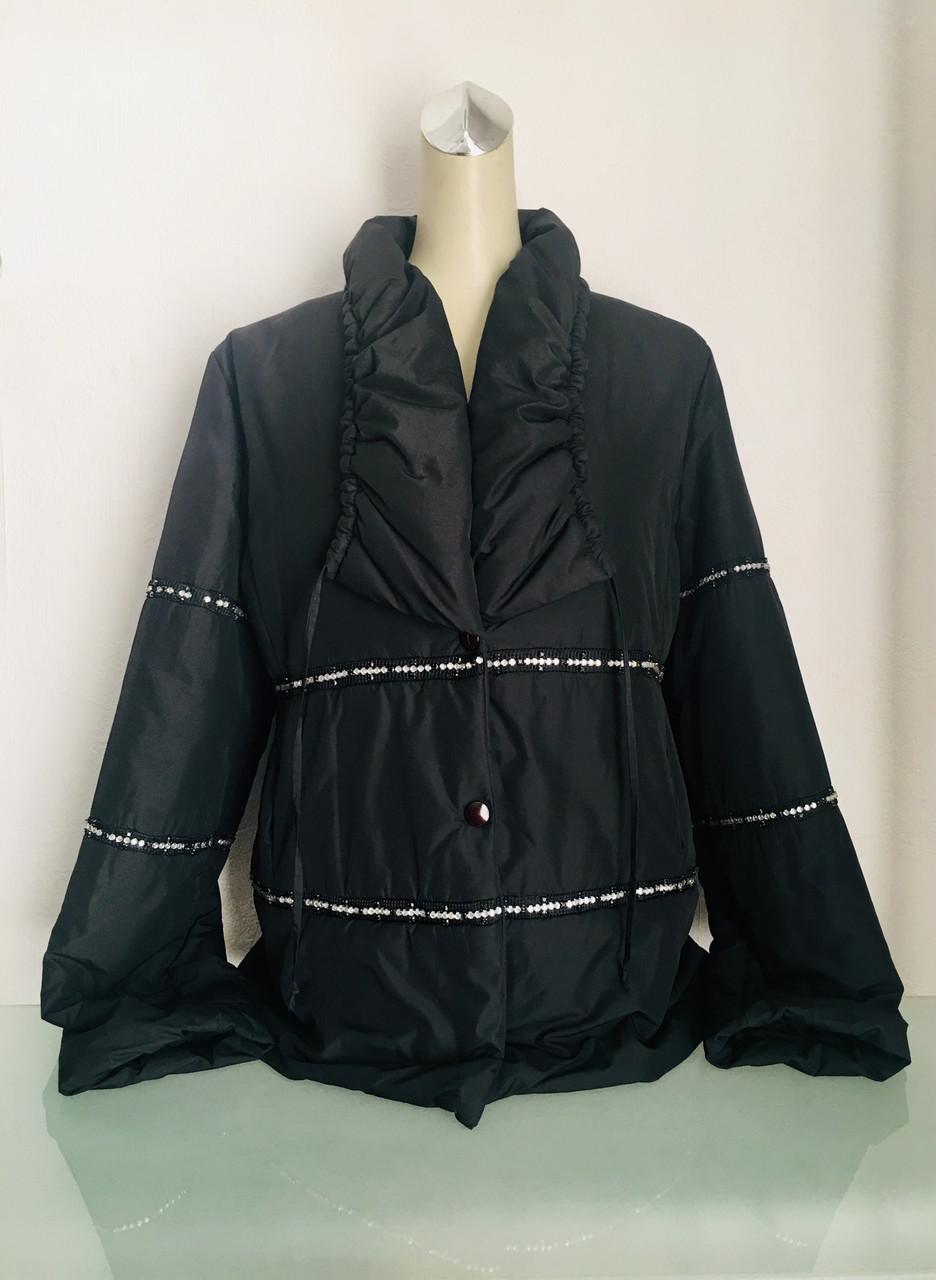Куртка женская чёрная с камушками на кнопках
