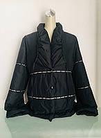 Куртка женская чёрная с камушками на кнопках, фото 1