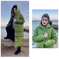 Пальто пуховик одеяло зима OVERSIZE с капюшоном арт. М521 фисташковый зеленый