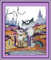 Влюбленные коты на крыше  Набор для вышивки крестом