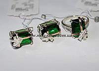 Серьги и кольцо с изумрудным камнем Презент