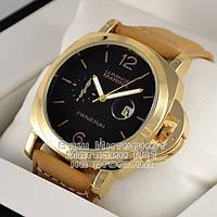 Мужские наручные часы Officine Panerai Luminor Marina GMT Automatic Ceramic Quartz Gold Black реплика, фото 1