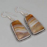 Серебряные серьги с полосатым ониксом