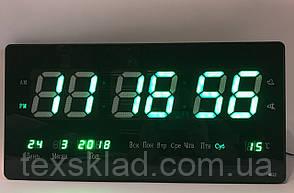 Настінні електронний годинник 3615 green (36х15см/Руське меню)