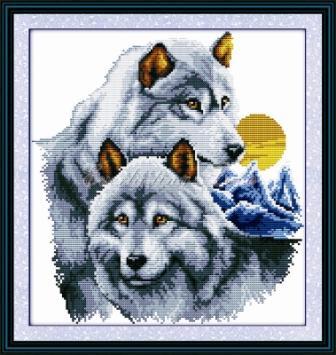 Волки пара D086 Набор для вышивки крестом  канва 14ст