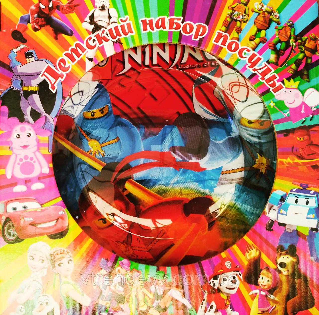 Детский набор посуды из стекла Ninjago Lego 3 в 1