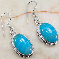 Серебряные серьги с голубым ониксом