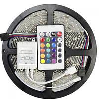 Светодиодная LED лента-гирлянда 3528 RGB цветная 5м + пульт + блок