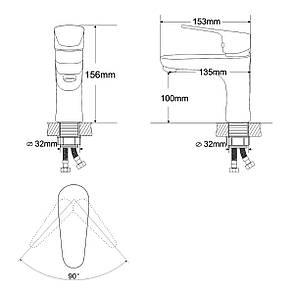 BUTTERFLY смеситель для умывальника однорычажный на гайке,  хром  35 мм, фото 2