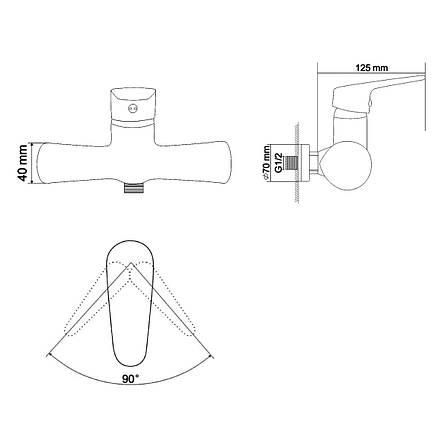 BUTTERFLY смеситель для душа  однорычажный, хром  35 мм, фото 2