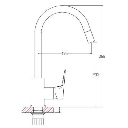 RAINBOW смеситель для кухни, выдвижная лека 1,5 м, хром 35мм, фото 2