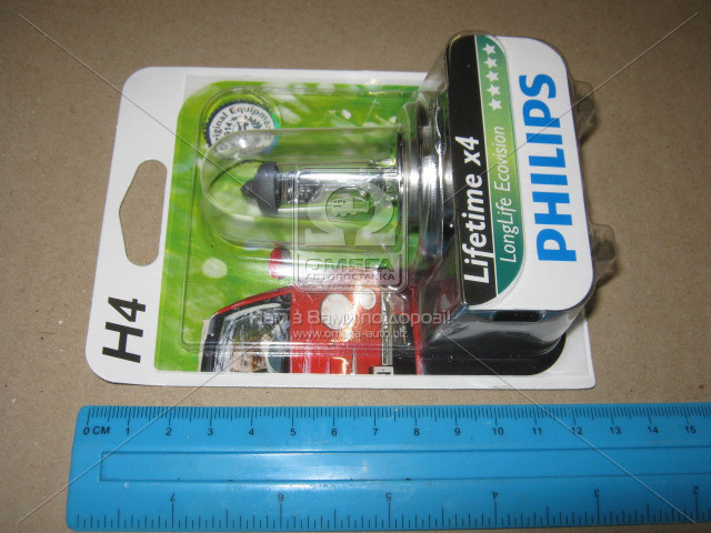 Лампа накаливания H4 12V 60/55W  P43t-38 LongerLife Ecovision 1шт blister (пр-во Philips) 12342LLECOB1