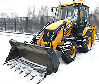 Уборка снега экскаватором JCB 3CX