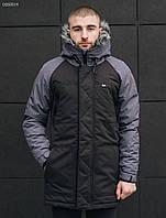 Зимняя мужская черно-серая парка Staff eco black and gray, фото 1